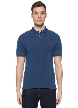 Polo Ralph Lauren Erkek Slim Fit Lacivert Yaka T-shirt Mavi EU male
