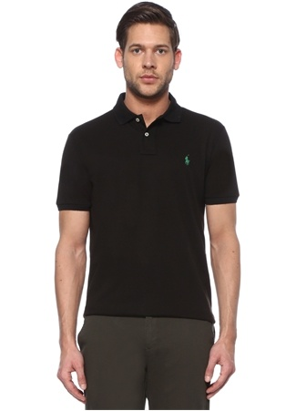 Polo Ralph Lauren Erkek Custom Slim Fit Siyah Logolu Yaka T-shirt M EU male