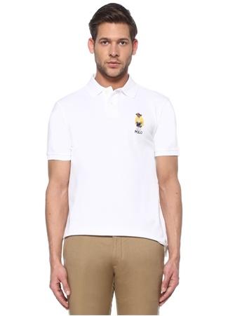 Polo Ralph Lauren Erkek Custom Slim Fit Beyaz Ayıcık Nakışlı T-shirt EU male