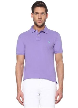 Polo Ralph Lauren Erkek Slim Fit Lila Logo Nakışlı Yaka T-shirt Mor XXL EU male