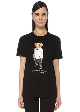 Polo Ralph Lauren Kadın Bear Oversize Siyah Baskılı T-shirt M EU female