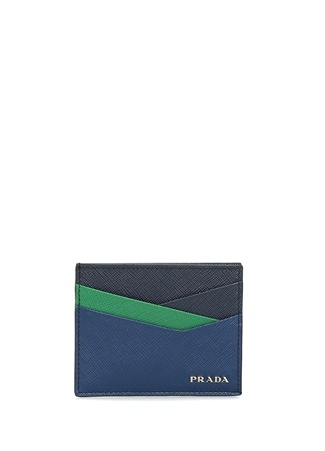 Prada Erkek Lacivert Yeşil Logolu Deri Kartlık EU male Standart