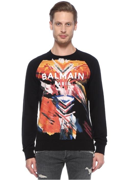 Siyah Karışık Desenli Logolu Sweatshirt