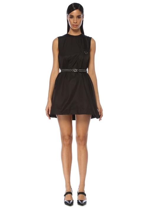 Siyah Beli Kemerli Kolsuz Mini Elbise