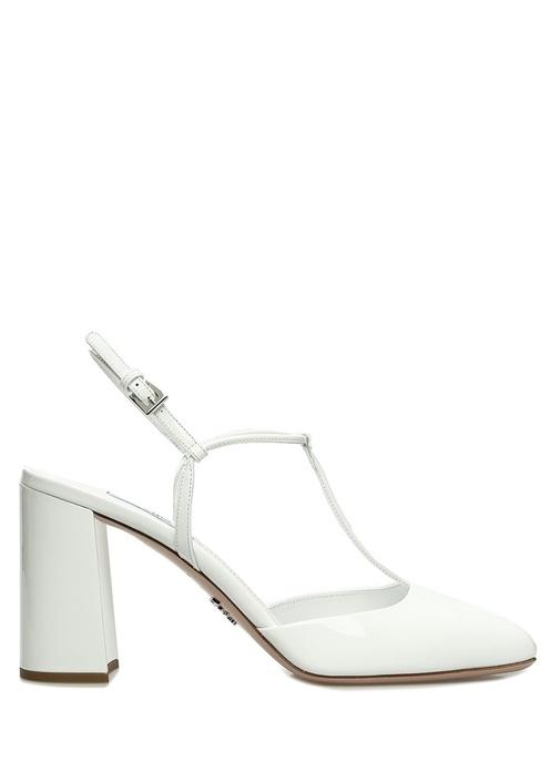Beyaz İnce Bantlı Deri Topuklu Ayakkabı