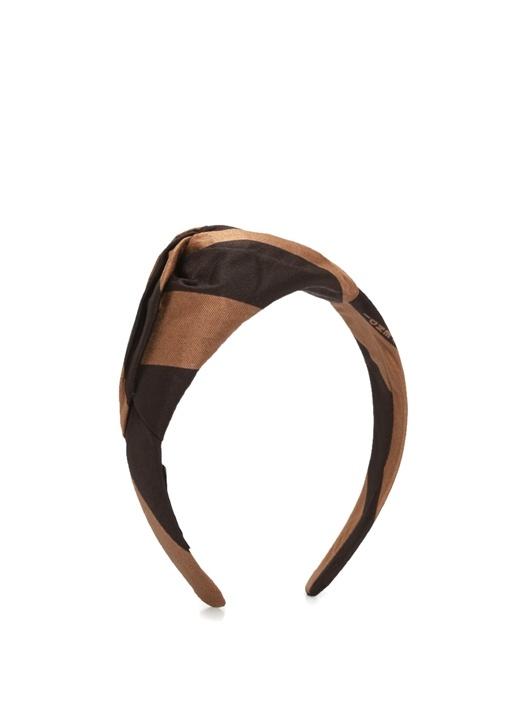 Kahverengi Düğüm Detaylı Çizgili Kadın İpek Taç