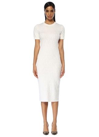 Fendi Kadın Beyaz Logolu Midi Boy Triko Elbise 42 IT
