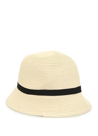 Lauren Ralph Kadın Bej Logolu Bantlı Hasır Dokulu Şapka EU female Standart