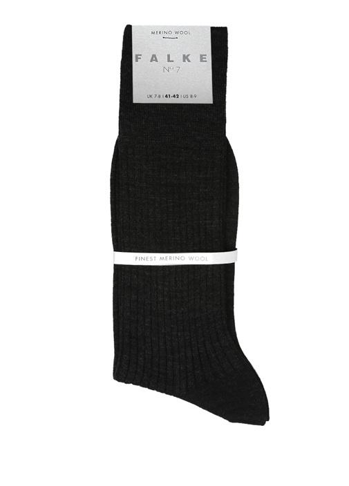 Antrasit Fitil Dokulu Erkek Yün Çorap