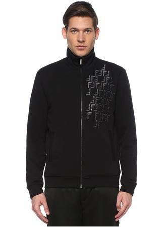 Fendi Erkek Siyah Silver Logo Nakışlı Sweatshirt EU male