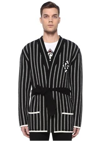 Dolce&Gabbana Erkek Siyah Beyaz Beli Kuşaklı Çizgili Kaşmir Hırka 52 IT male