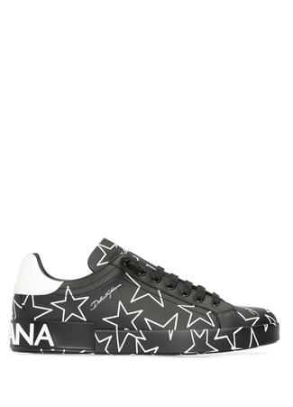 Dolce&Gabbana Erkek Portofino Siyah Beyaz Baskılı Deri Sneaker 39 EU male