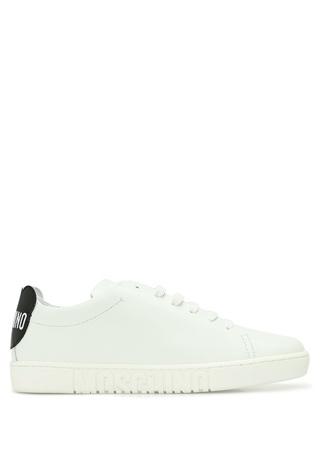 Moschino Kadın Beyaz Logolu Deri Sneaker 38 EU female