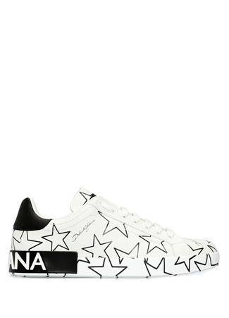 Dolce&Gabbana Erkek Portofino Siyah Beyaz Baskılı Deri Sneaker 42 EU male