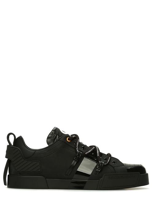 Portofino Siyah Kontrast Logolu Erkek Deri Sneaker