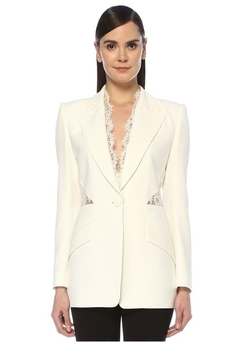 Beyaz Transparan Dantel Garnili Krep Ceket
