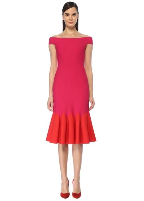 Kırmızı Pembe Düşük Omuzlu Midi Triko Elbise