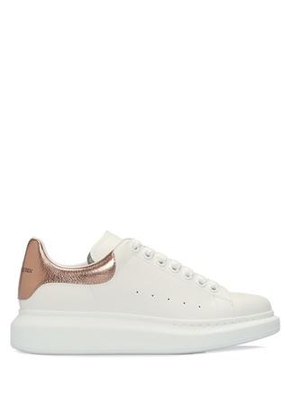 Oversize Beyaz Renk Detaylı Kadın Deri Sneaker