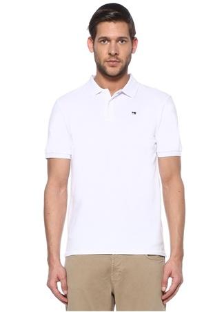Scotch & Soda Erkek Beyaz Logo Nakışlı Polo Yaka T-shirt EU male