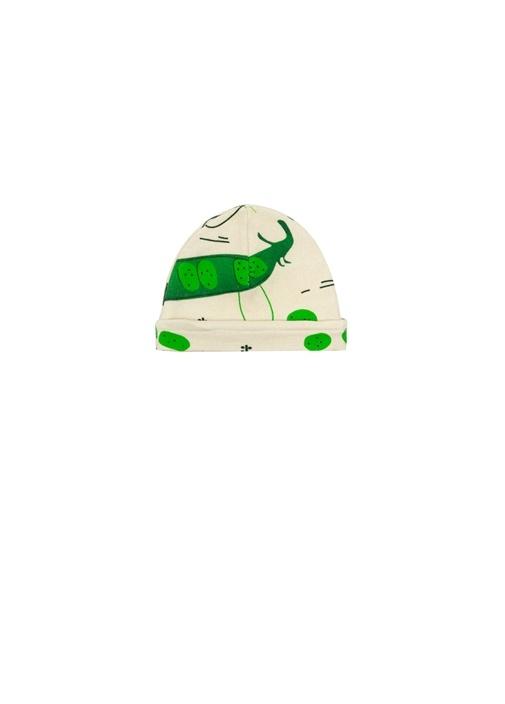 Yeşil Beyaz Bezelye Baskılı Bebek Şapka