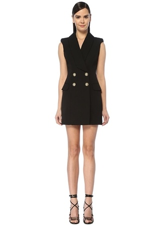 Balmain Kadın Siyah Kolsuz Mini Kruvaze Yün Ceket Elbise 40 FR