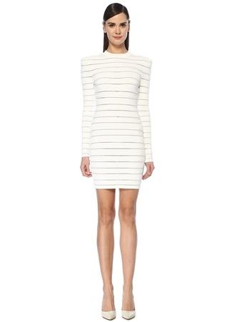 Balmain Kadın Beyaz Logo İşlemeli Şeritli Mini Elbise 36 FR