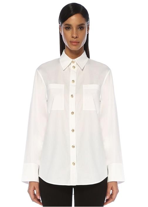 Beyaz Gold Düğmeli Cep Detaylı Gömlek