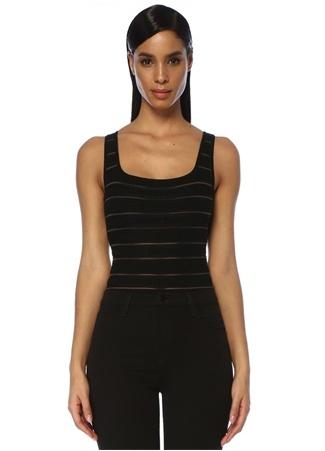 Balmain Kadın Siyah Logolu Şeritli Triko Body 34 FR