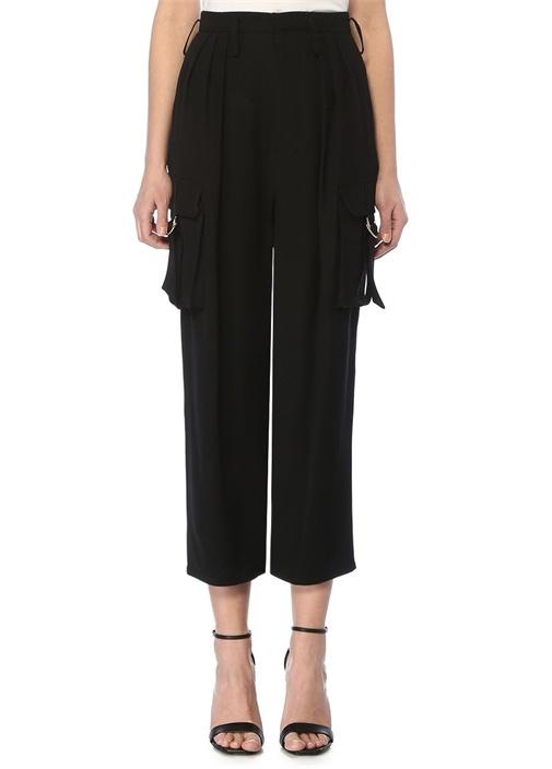 Siyah Yüksek Bel Pilili Cep Detaylı Pantolon