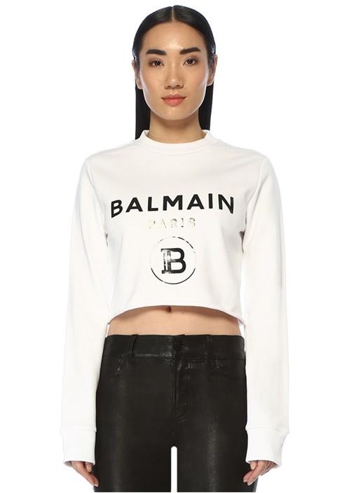 Beyaz Logo Baskılı Crop Sweatshirt