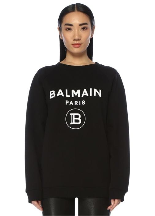 Siyah Beyaz Logolu Reglan Kol Sweatshirt