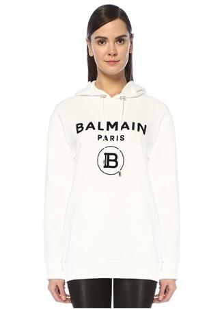 Balmain Kadın Beyaz Kapüşonlu Logolu Fermuar Detaylı Sweatshirt XXS EU