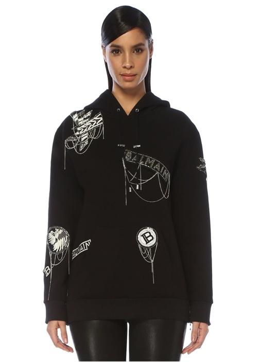 Siyah Silver Kapüşonlu Logo İşlemeli Sweatshirt