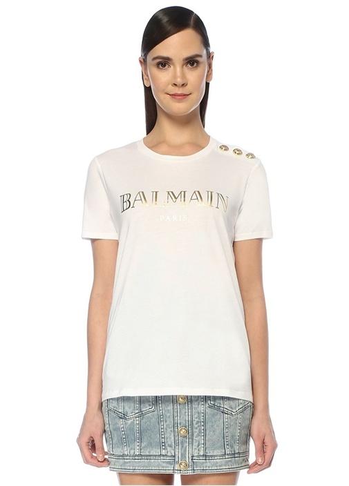 Beyaz Gold Logolu Omzu Düğmeli T-shirt