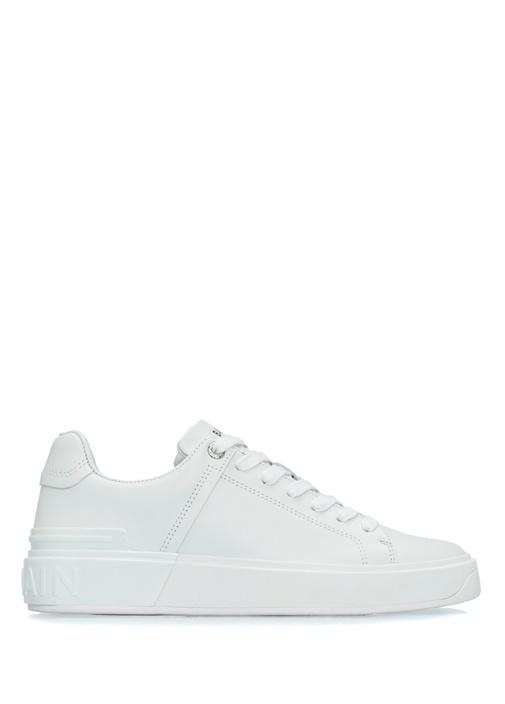 Beyaz Logolu Kadın Deri Sneaker