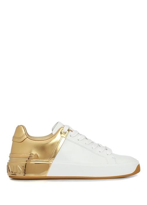 Beyaz Gold Logolu Kadın Deri Sneaker
