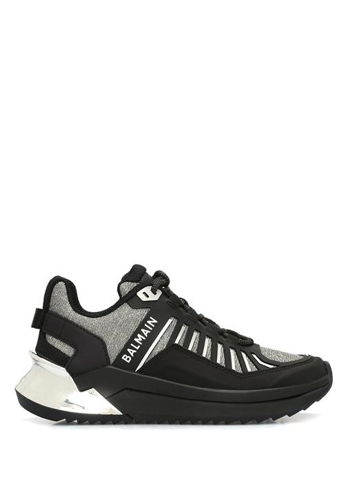 Siyah Gri Sim Dokulu Kadın Deri Sneaker