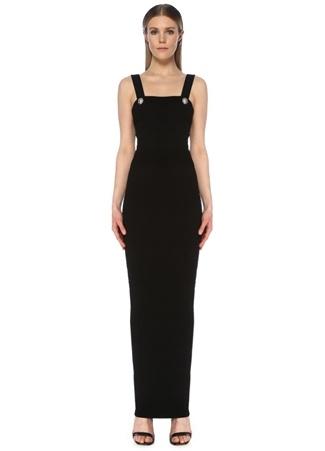 Balmain Kadın Siyah Kare Yaka Dokulu Maksi Triko Elbise 40 FR female
