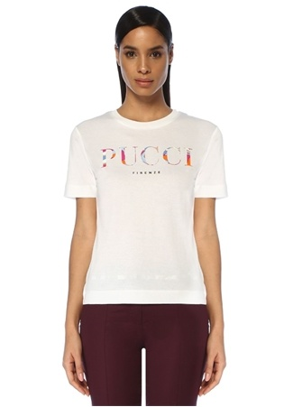 Emilio Pucci Kadın Beyaz Logo Baskılı T-shirt EU female
