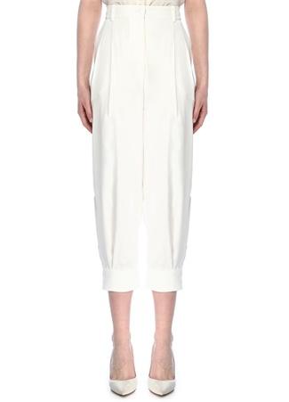 Emilio Pucci Kadın Beyaz Yüksek Bel Pilili Bol Kesim Pantolon 40 IT female