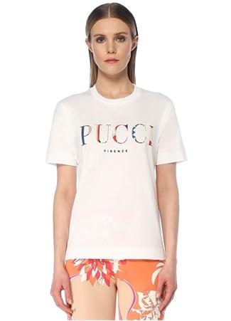 Emilio Pucci Kadın Beyaz Logo Baskılı T-shirt S EU female