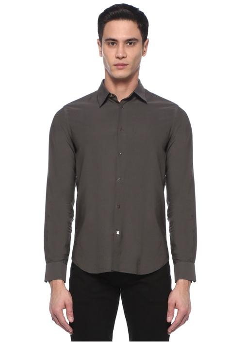 Slim Fit Kahverengi İngiliz Yaka Gömlek