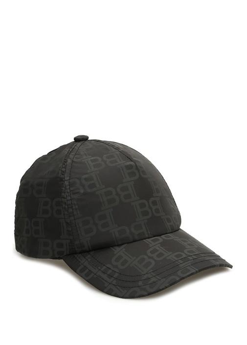 Siyah Logo Desenli Erkek Şapka
