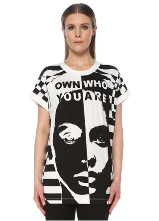 Balmain Kadın Oversize Siyah Beyaz Baskılı T-shirt XS EU female