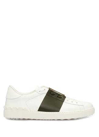 Valentino Garavani Erkek Rockstud Beyaz Haki Deri Sneaker 42 EU male