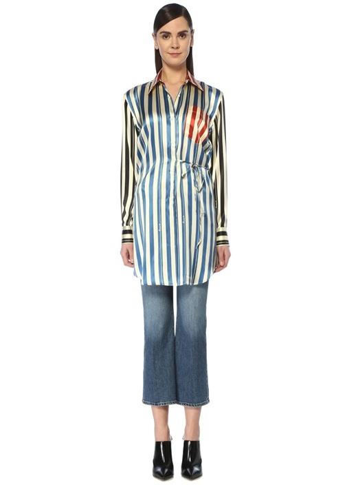 Çizgili Patchwork Detaylı Uzun İpek Gömlek