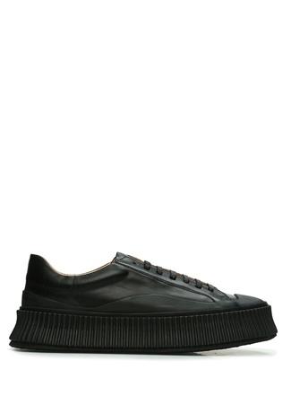 Jil Sander Kadın Siyah Kalın Tabanlı Deri Sneaker 38 EU female
