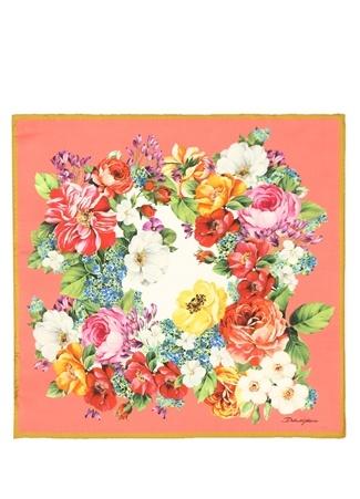 Dolce&Gabbana Kadın Pembe Çiçek Desenli İpek Fular EU Çok Renkli female Standart