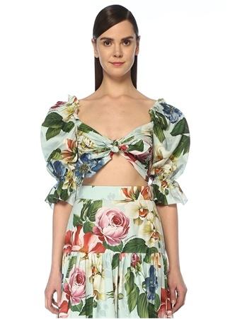 Dolce&Gabbana Kadın Mavi Çiçek Desenli Bağlama Detaylı Bluz Beyaz 38 IT