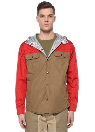 Moncler Erkek Donan Kırmızı Bej Kapüşonlu Logolu Mont 4 US male